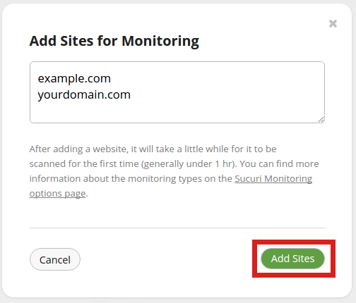 security sucuri add site sucuri add sites button