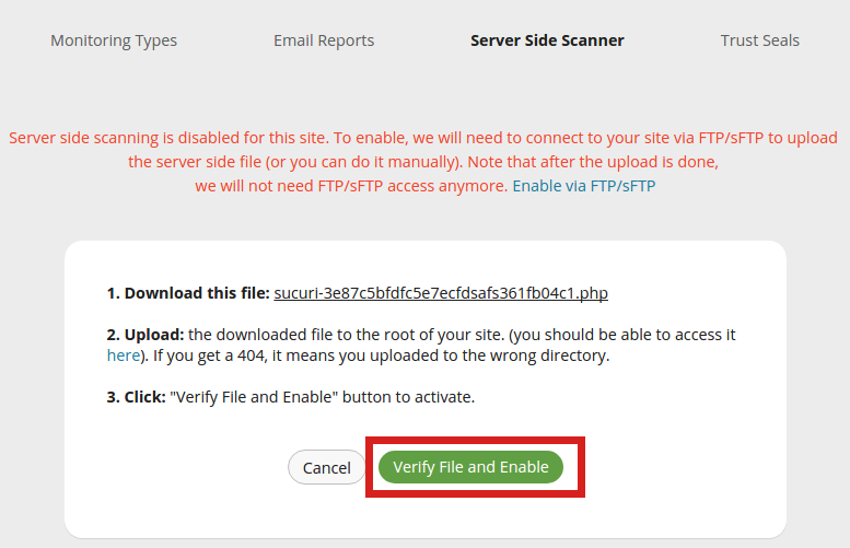 security sucuri server side scanner verify file and enable
