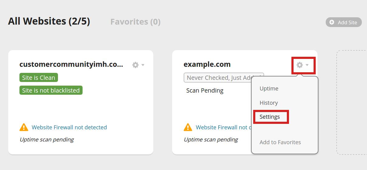 security sucuri server side scanner website settings