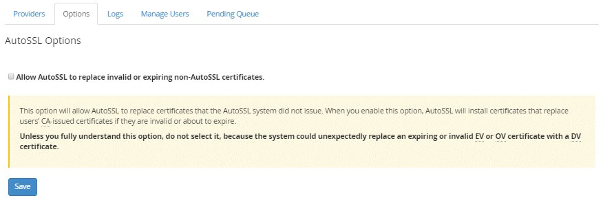 Warning before using AutoSSL to replace all SSL certificates