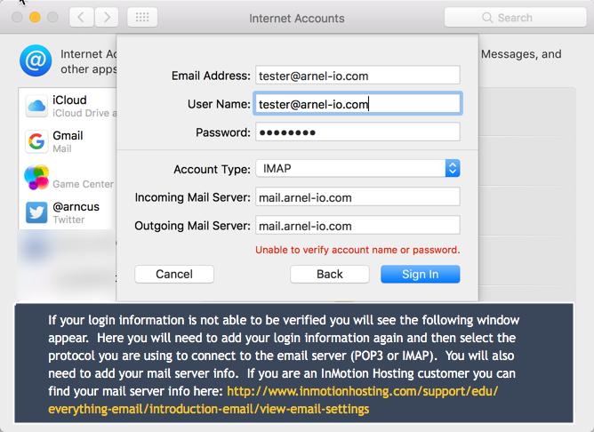 Mail server info details