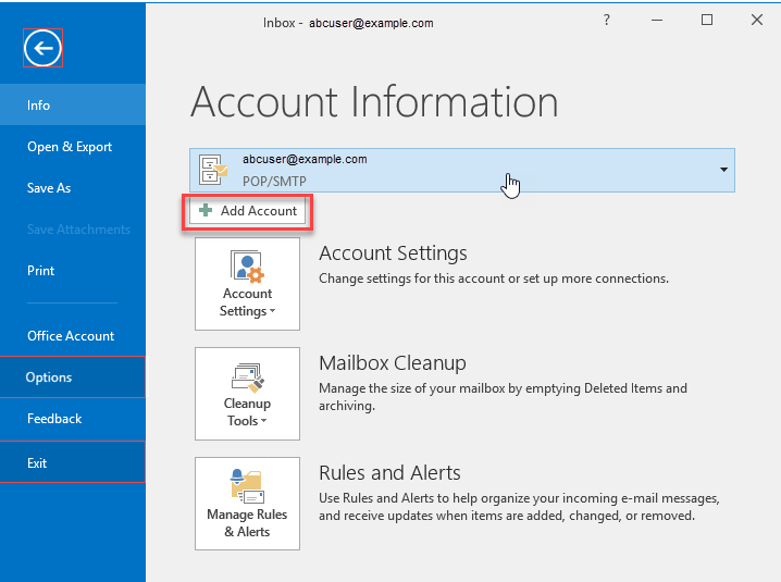 Outlook -Account information main screen