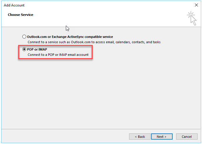 Select the POP or IMAP
