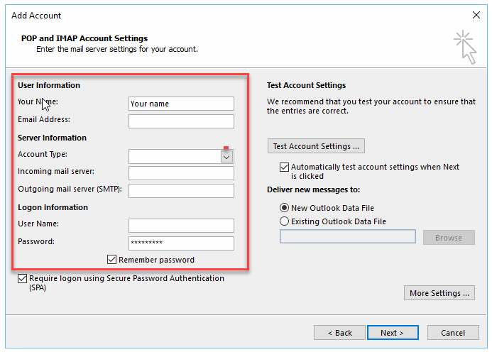 POP/IMAP Account settings