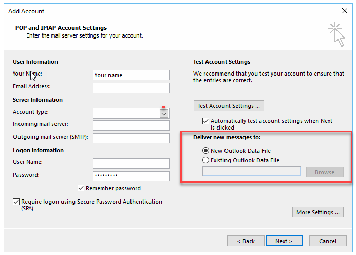 Determine if new messaga  needs to go into a new or old Outlook data file