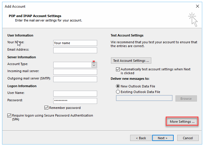 Click more settings to change ports or use Secure settings