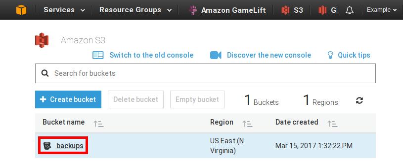 Amazon Web Services S3 bucket example image