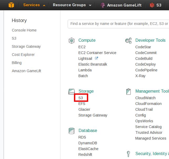 Amazon Web Services console S3 link