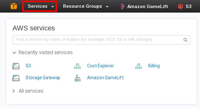 Amazon Web Services console Services link image