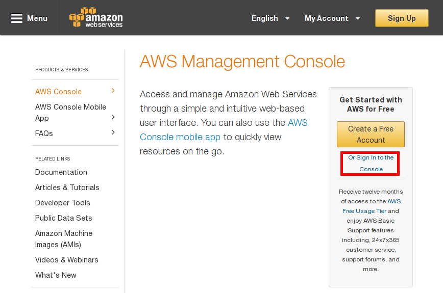 Amazon Web Services console sign in image