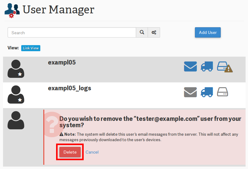 cpanel user manager userManager deleteButton highlight