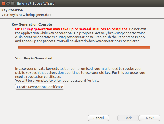 It will take a moment to generate a secure keypair