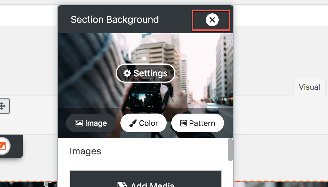 close the section background editor