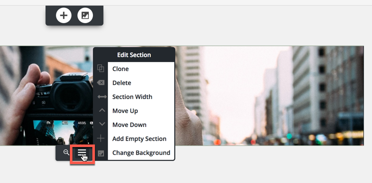 open section edit menu again