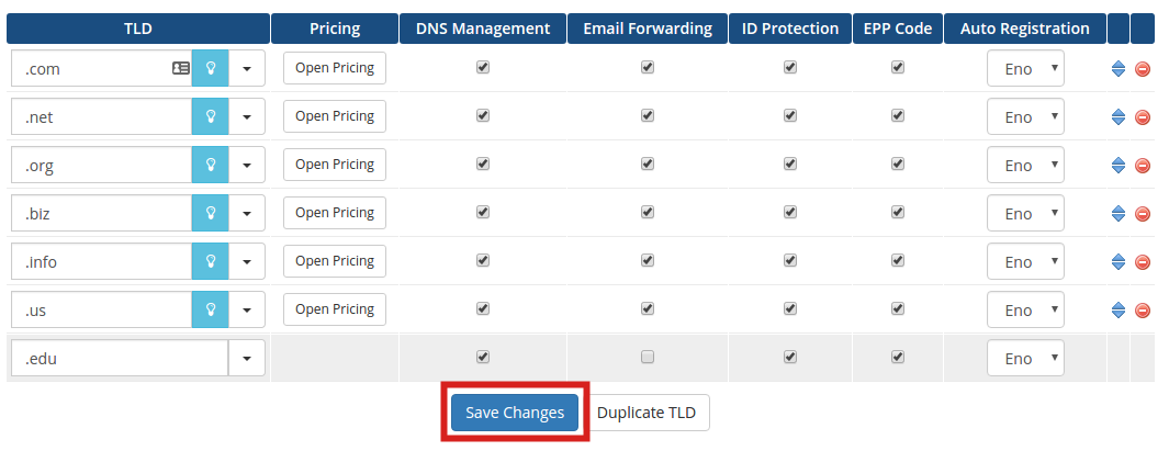 reseller advantage add tlds save changes