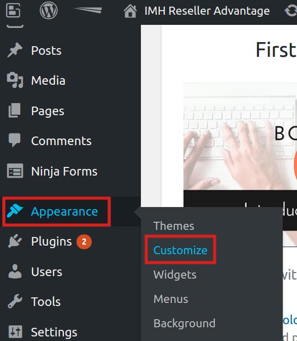 reseller advantage change logo customize appearance boldgrid