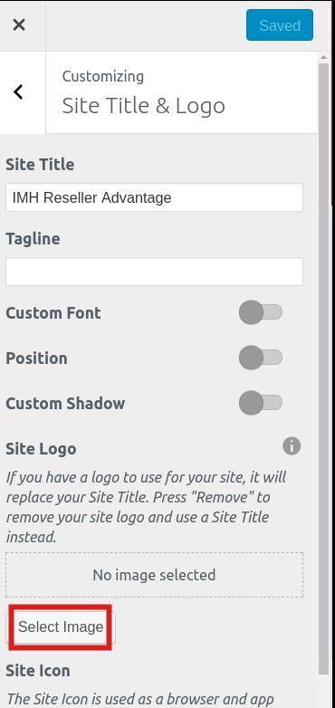 reseller advantage change logo select site logo image