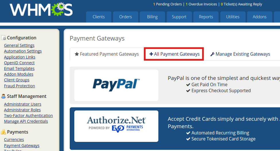 reseller advantage setup authorize all payment gateways