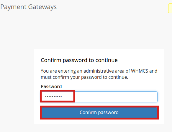 reseller advantage setup authorize confirm whmcs password