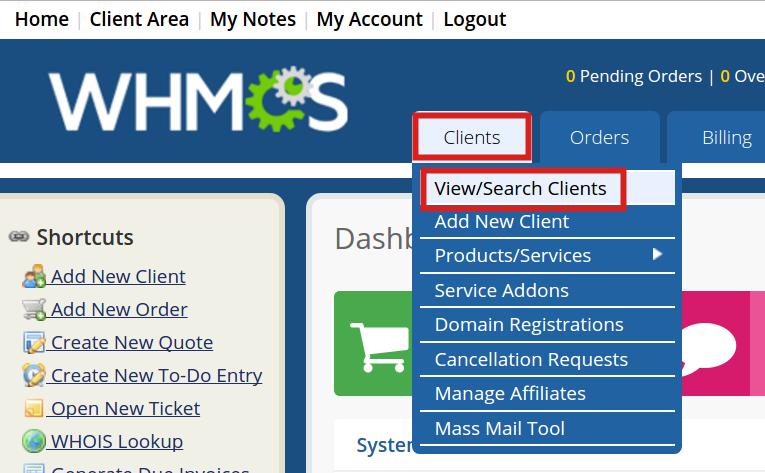 reseller advantage view clients view search whmcs clients