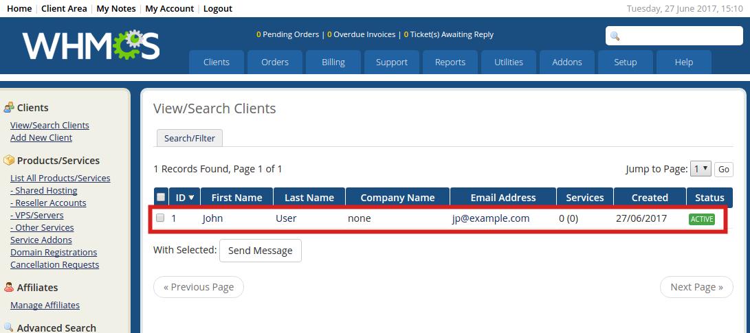 reseller advantage view clients whmcs clients view