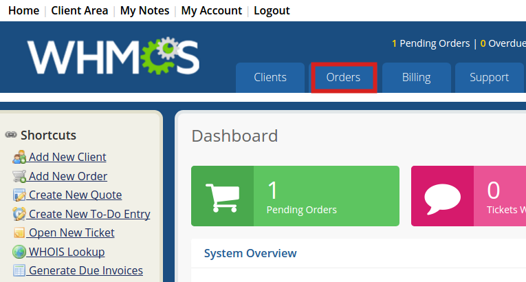 Orders page of WHMCS
