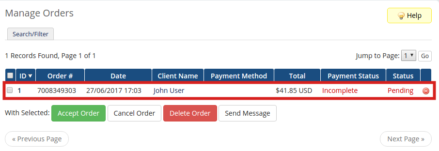 Accessing Orders in WHMCS