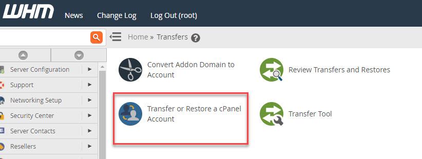 Transfer or restore a cPanel account icon