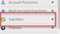 transfers button in WHM