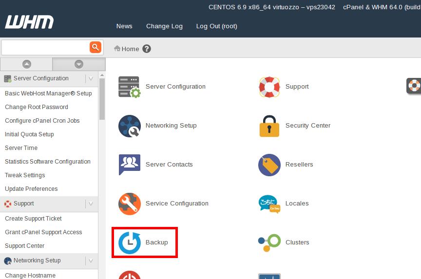 WHM Backup icon highlight