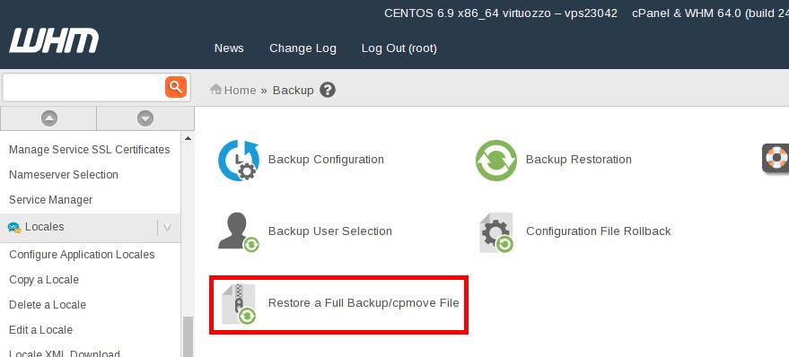WHM restore full backup/cpmove file icon highlight