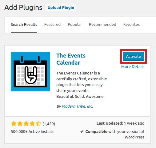 Activating Events Calendar