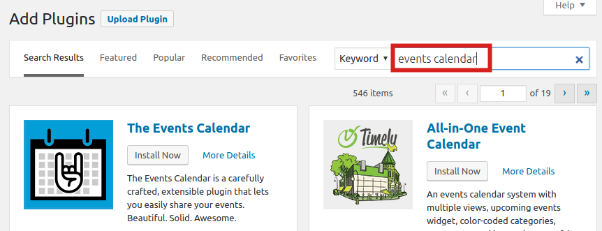 Searching for Events Calendar