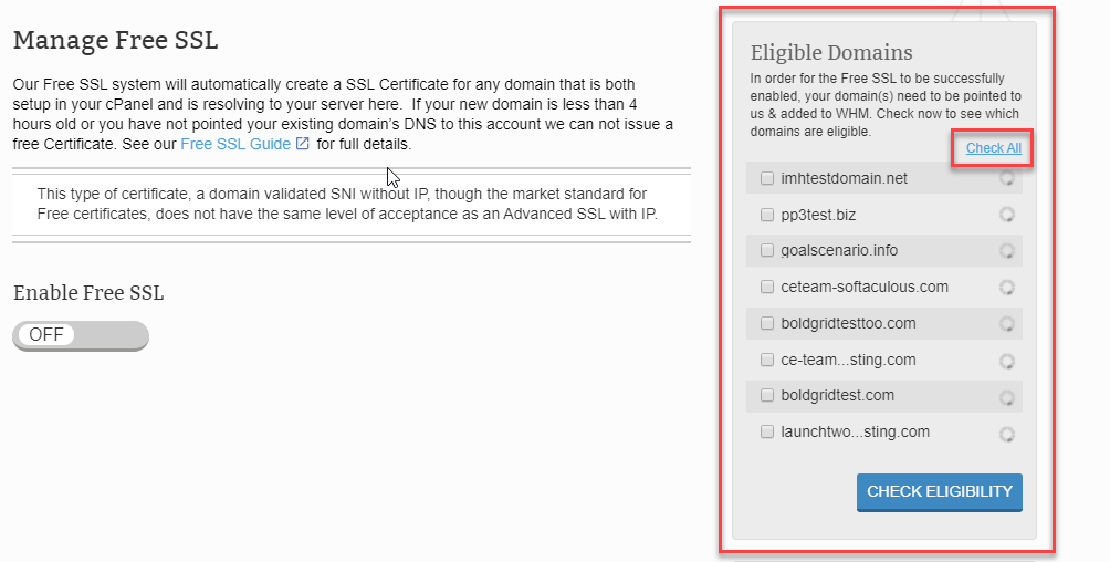 Select domains for eligibility check