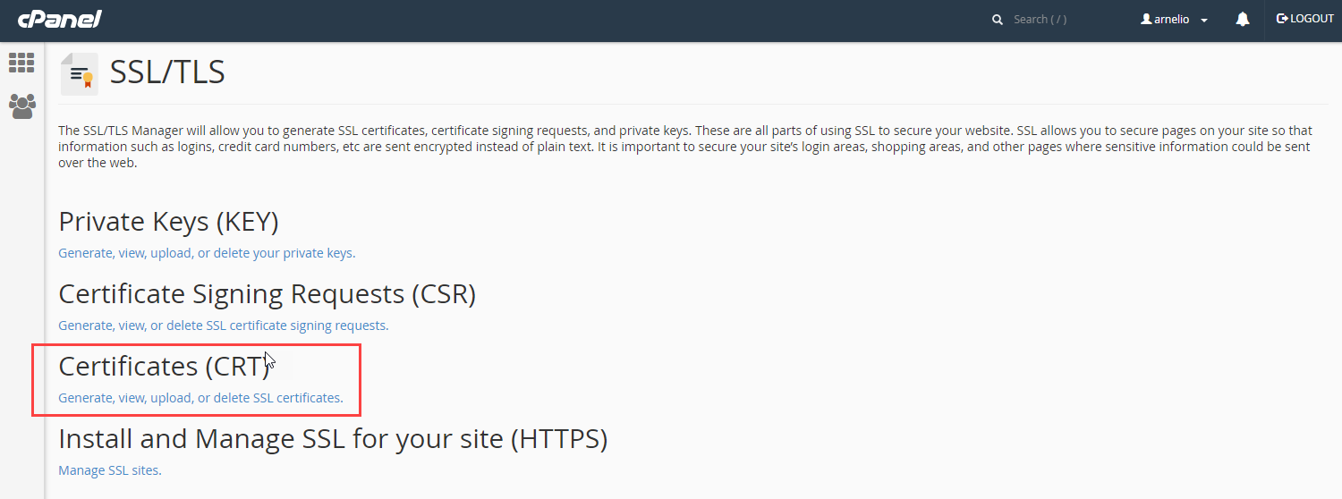 click on Certificates(CRT)