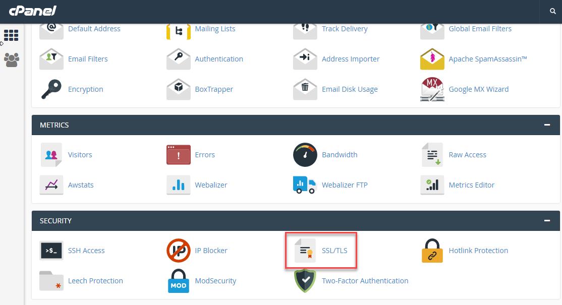 Click on SSL/TLS icon