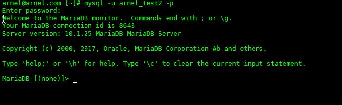 Login to the mysql command line