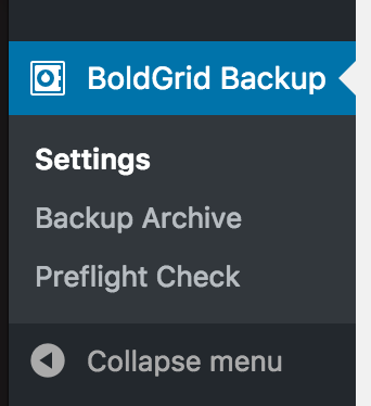 Menu item for BG backup