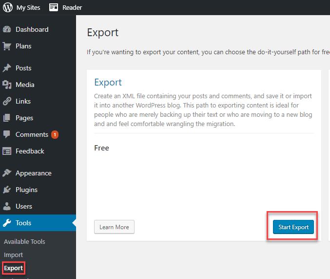 Start FREE export