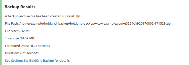 Review Backup Results