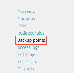 Select Backup points from menu