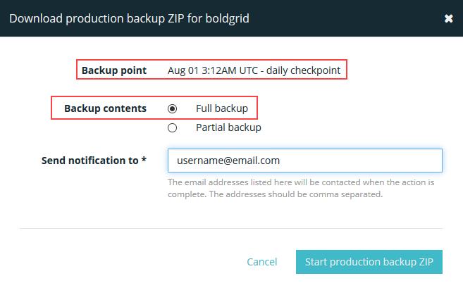Download production backup