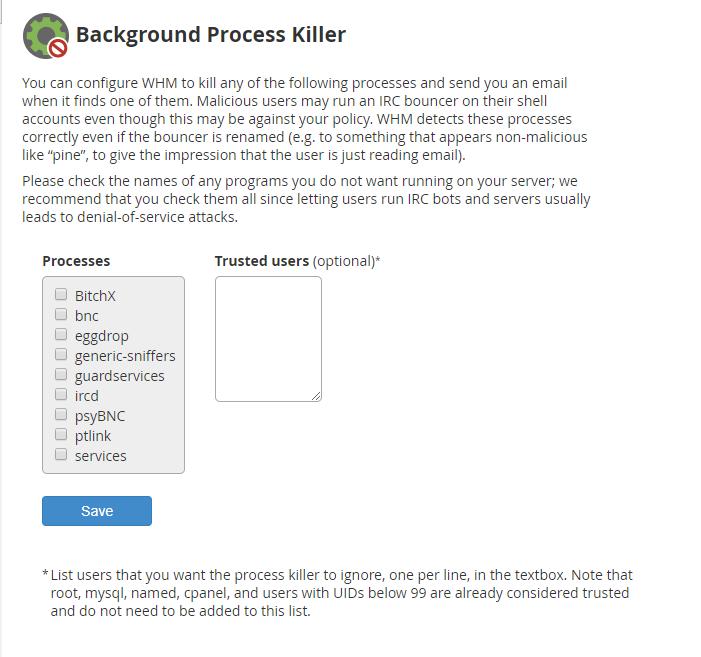 Background process killer main screen