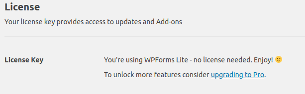 WPForms General Settings License section