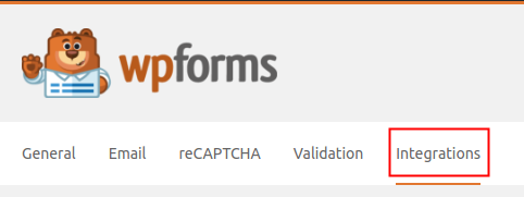 WPForms Settings Integrations Tab highlighted