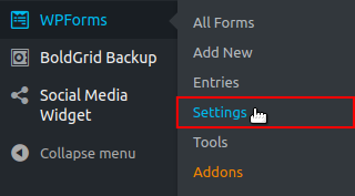 WPForms Settings menu option highlighted