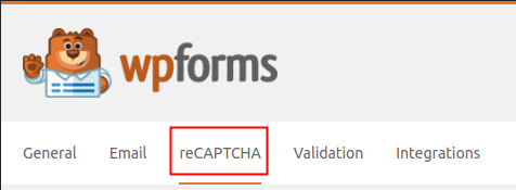 WPForms Settings reCAPTCHA Tab highlighted