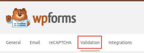 WPForms Settings Validation Tab highlighted