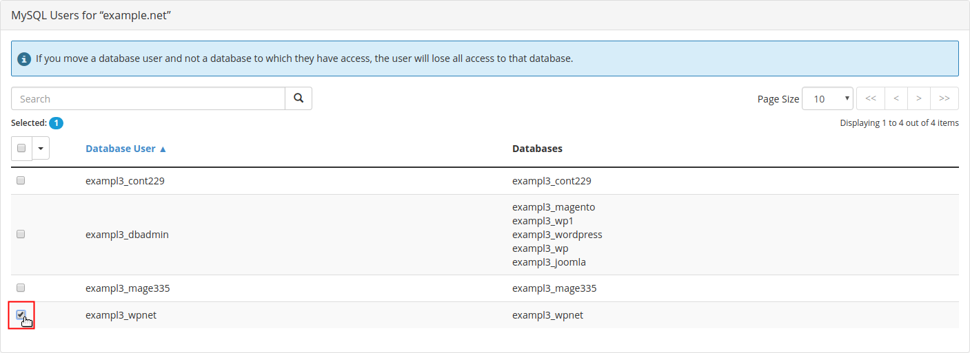 Configure MySQL Databases notice displayed above list of database users with addon domain database user selected