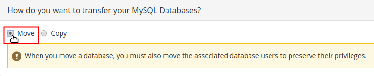 Configure MySQL Databases warning displayed and Move radio button selected and highlighted